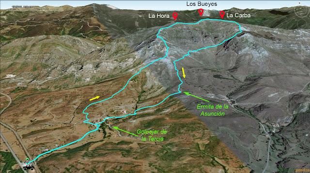 Mapa de la ruta al peña los Bueyes en la Sierra de Currillos.