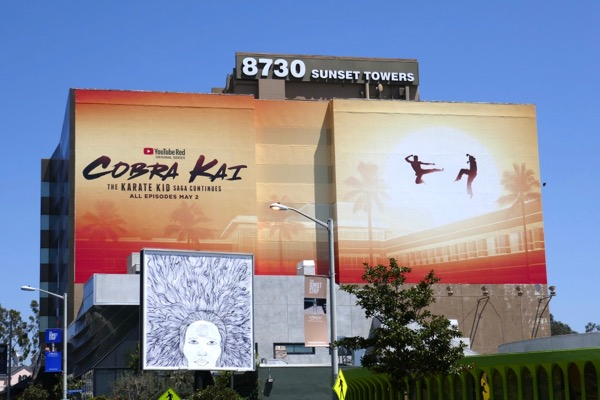 Giant Cobra Kai series premiere billboard