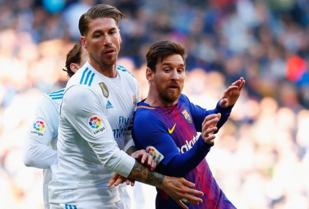 Real Madrid Sergio Ramos and  FC Barcelona Lionel Messi