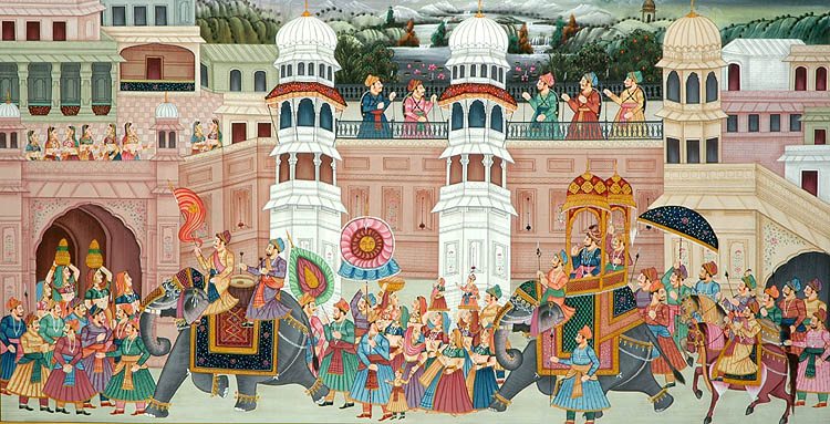 A Rajput Victory Procession. Rajput leaders became more prominent during periods of political upheaval.