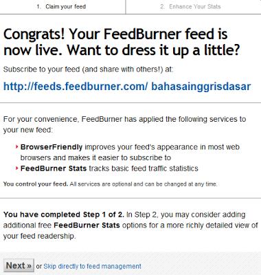feedburner sudah siap