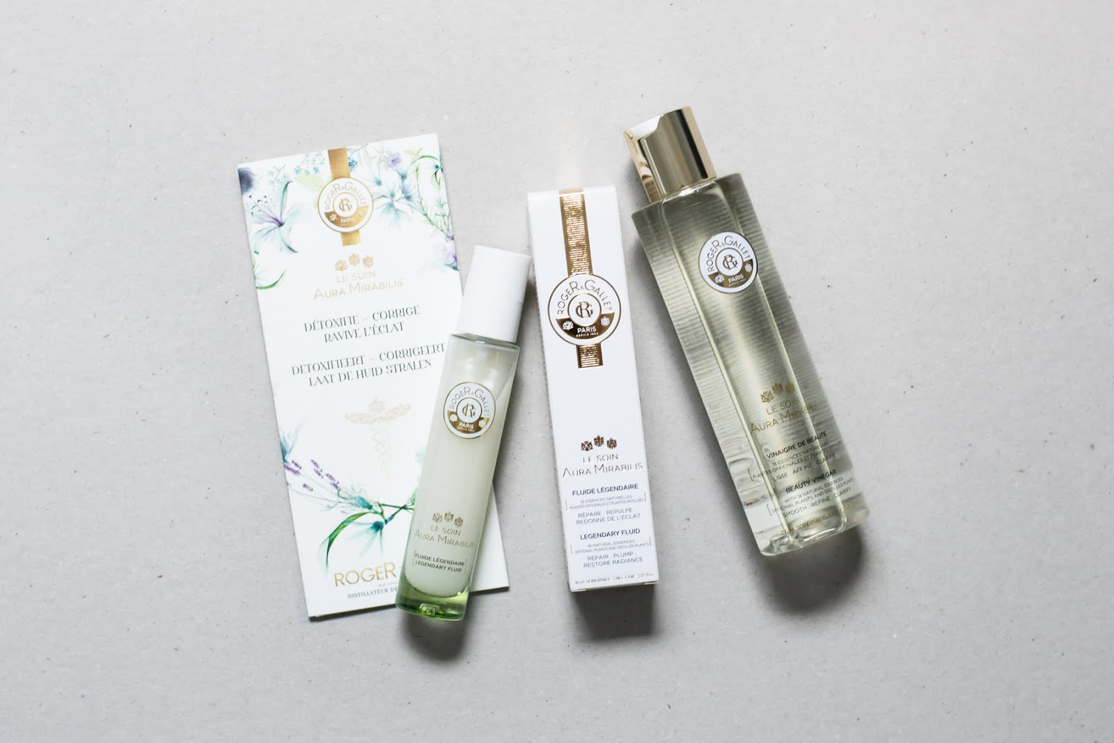 Roger & gallet, le soin aura mirabilis, legendary fluid, beauty vinegar, tonic