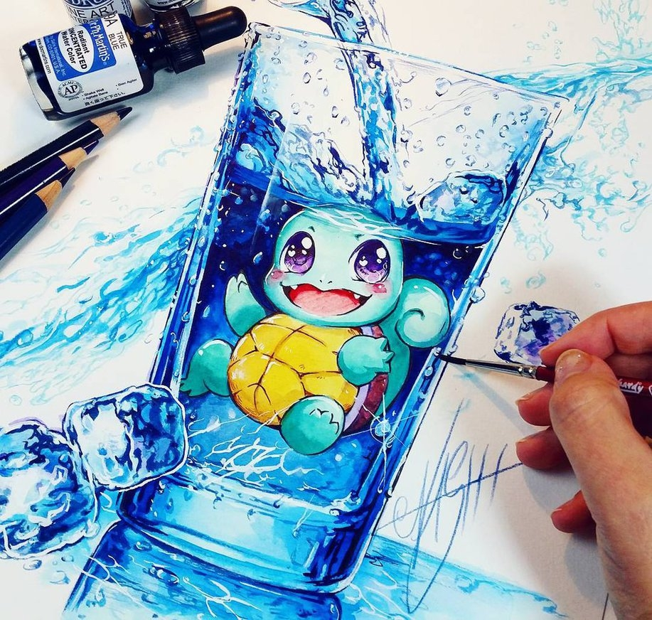 12-Squirtle-Water-Splash-Nashi-Illustrations-that-Bring-out-Depth-of-Colour-in-Manga-Comics-www-designstack-co