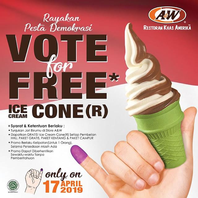 #AW - #Promo Vote PEMILU 2019 & Dapatkan Free Ice Cream Cone R (17 April 2019)