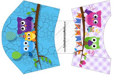 Búhos de Colores: Cajas para Fiesta de Quince Años para Imprimir Gratis.