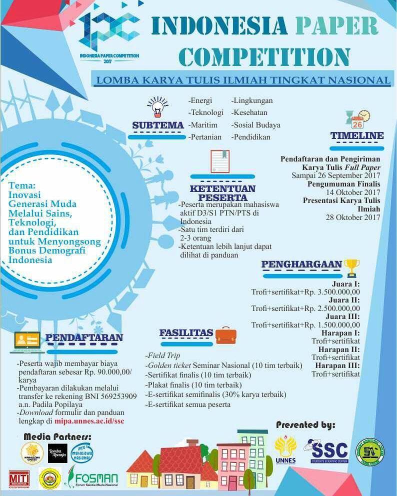 Lomba Karya Tulis Ilmiah Nasional Indonesian Paper Competition 2017 | Univ. Negeri Semarang | Mahasiswa