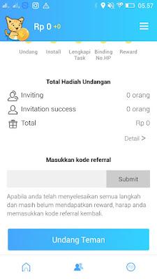 cara invite code teman di apk reward plus