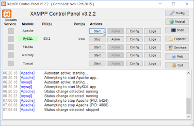 Apache klik tombol Start