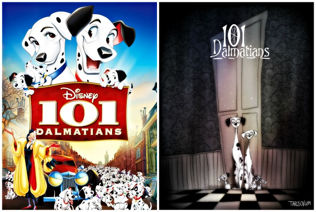 Illustrator Andrew Tarusov redesigns  Disney's classic movie character  101 Dalmatians  into Tim Burton's dark gothic style via geniushowto.blogspot.com Illustrations