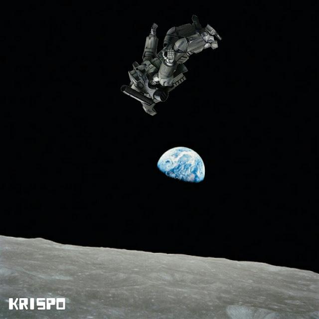 astronauta entre la luna y la tierra gravitando