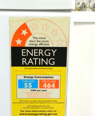 energy rating sticker for a washing machine