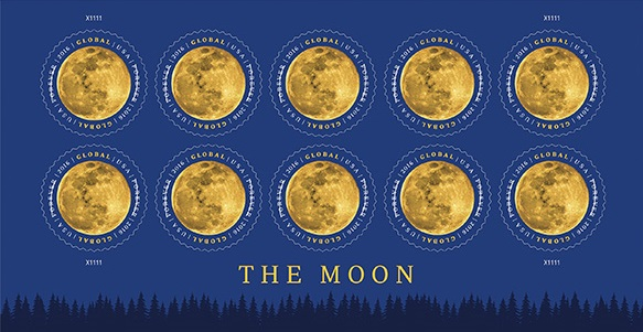 In 2016, the U.S. Postal Service introduces The Moon, a new Forever international rate stamp. Credit: U.S. Postal Service