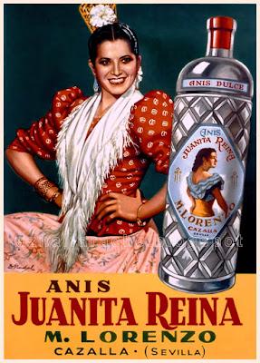 Cartel publicitario de Anís Juanita Reina - Autor: D. Nadal  - CAZALLA DE LA SIERRA