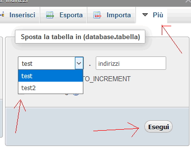 PHPMYADMIN: spostare una tabella in un altro database