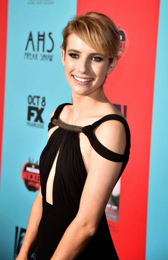 Emma Roberts is elegant in Saint Laurent at the 'American Horror Story: Freak Show' LA premiere