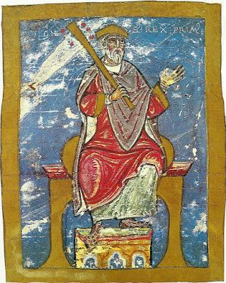 Miniatura de Alfonso II en el Tumbo A de la catedral de Santiago de Compostela