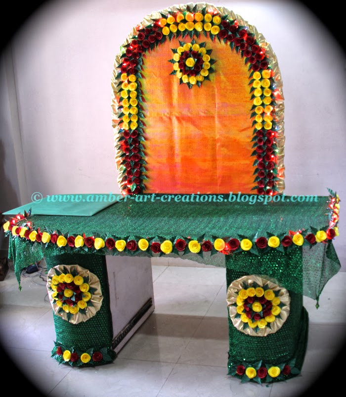 Ganpati decoration ideas with flowers images for Ganpati decorations ideas at home