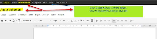 Gmail Yazı editörü