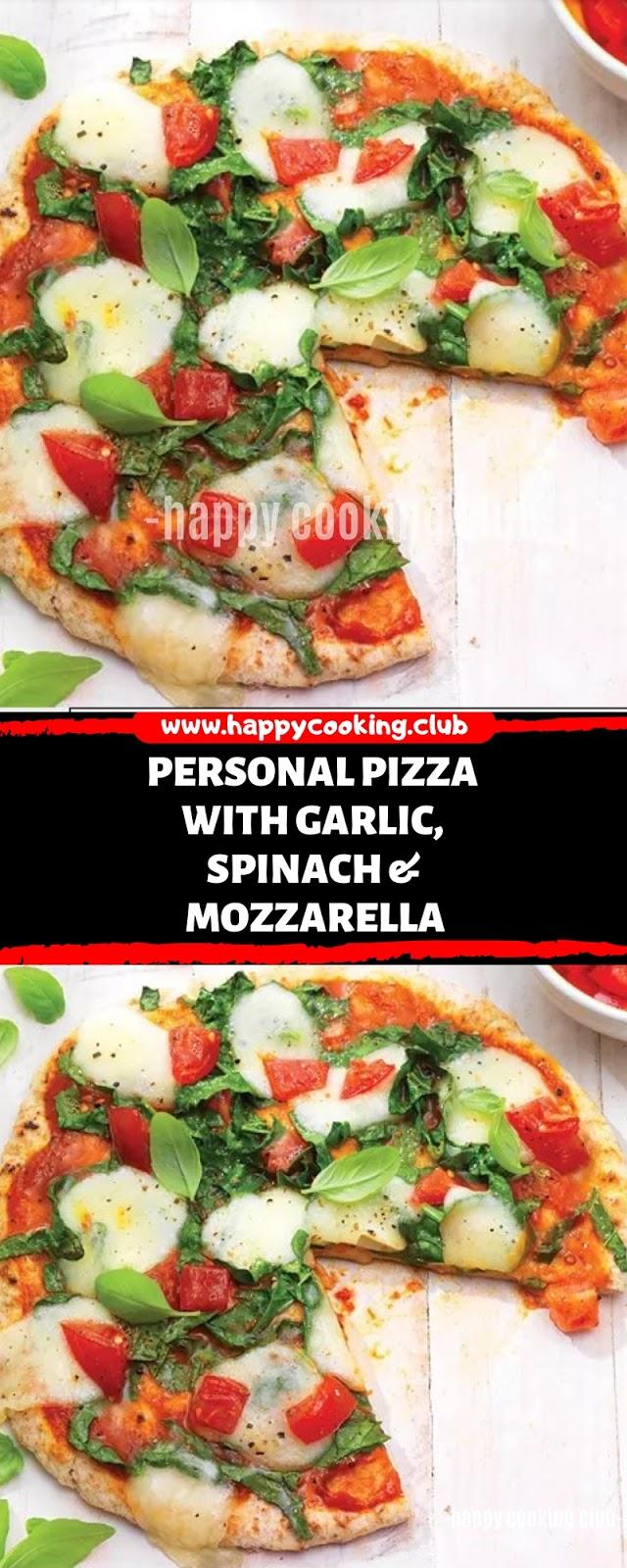 Personal Pizza with Garlic, Spinach & Mozzarella Recipes