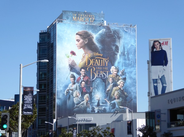 Giant Disney Beauty and Beast movie billboard