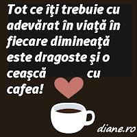 Tot ce îţi trebuie cu adevărat în viaţă în fiecare dimineaţă este dragoste şi o ceaşcă cu cafea!