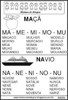 Fichas de leituras letras M-N