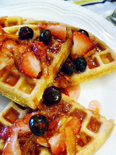 Multi-Grain Citrus Waffles are not only HEALTHIER for you, but taste sinfully good with the special berry topping! Slice of Southern