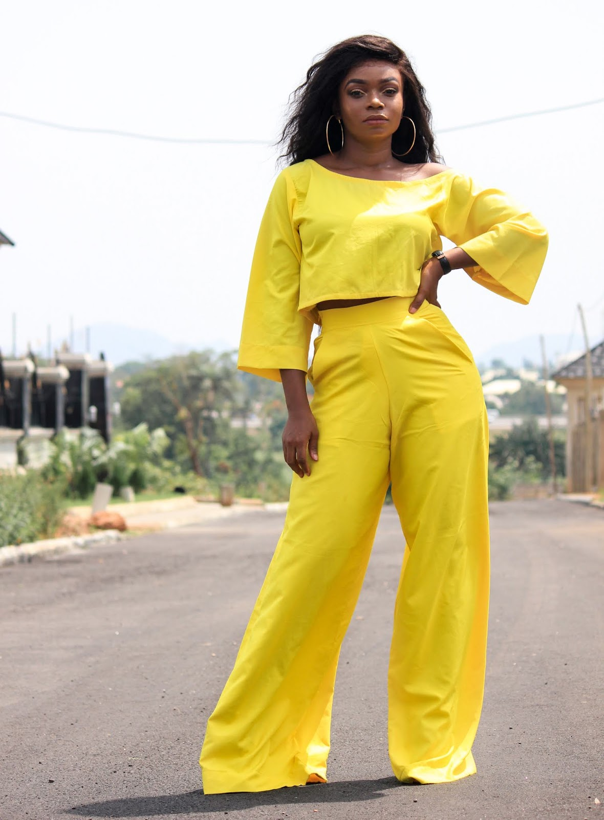 YELLOW YELLOW PANTS + TOP - Yellow Two Piece Set from Porshher