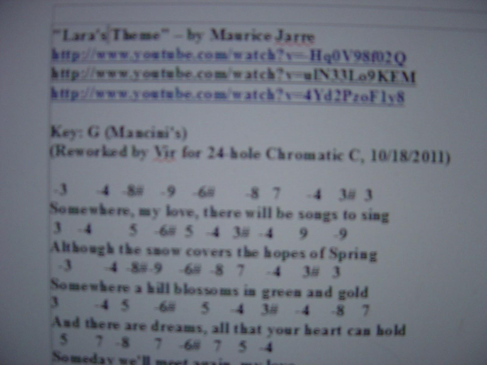 The Old Man Harper: Harmonica tablature