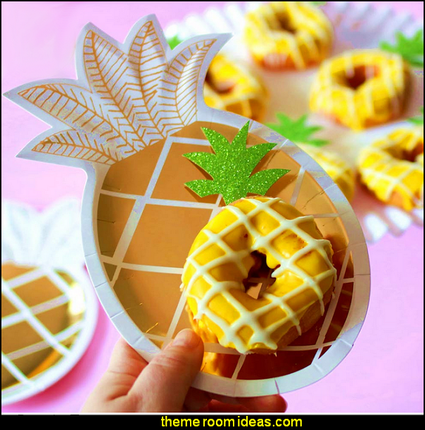 Pineapple Cupcake Toppers Pineapple Donut Toppers for Hawaiian Luau Bridal Shower Tropical Summer Party Cake Decoration