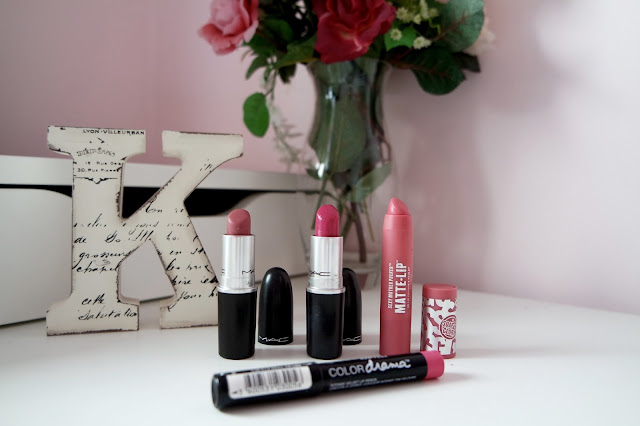 Top Spring Lip Products, MAC Mehr and Girl About Town Lipstick, Highend and Drugstore including dupes, Maybelline Colour Drama Lip Pencil Fuchsia Desire, Soap & Glory matte Lip Bullet Crayon cheap budget friendly, muted pink, hot pink, nude, £15.50 £3.50 £5