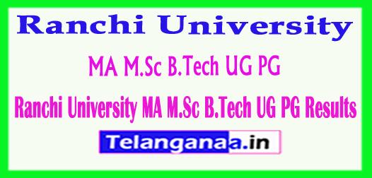 Ranchi University MA M.Sc B.Tech UG PG Results 2018