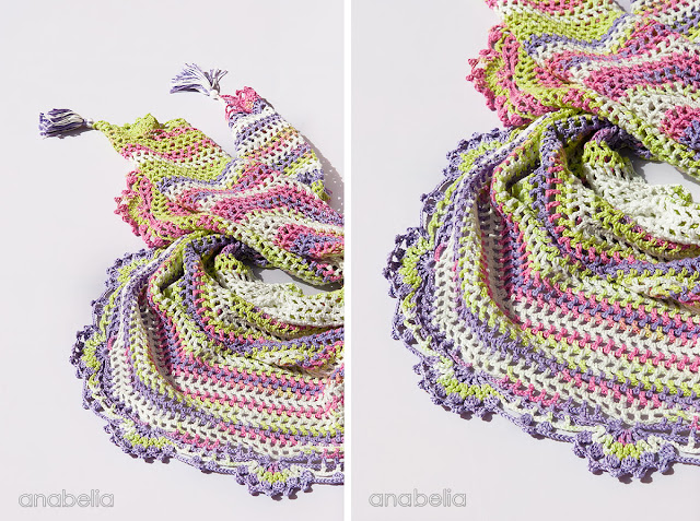 Light summer crochet shawl by Anabelia Craft Design
