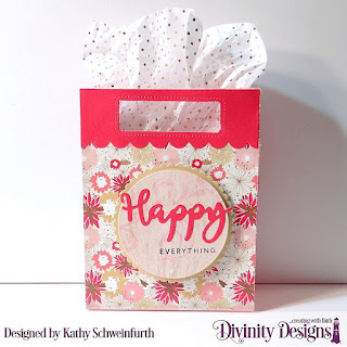 Divinity Designs Stamp/Die Duos: Happy, Custom Dies: Card Caddy & Gift Bag, Gift Bag Handles & Topper, Scalloped Circles, Circles, Paper Collection: Beautiful Blooms