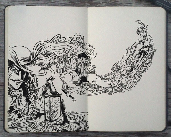 14-Peter-Pan-and-Captain-Hook-Gabriel-Picolo-Disney-Fantasy-Ink-Drawings-in-Moleskine-Illustrations-www-designstack-co