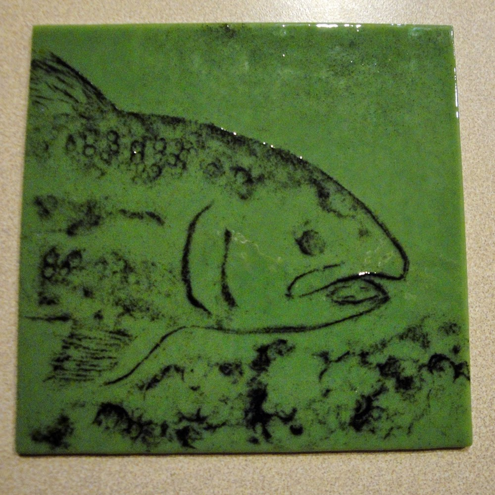 glass powder bullseye sgraffito fused frit painting food dinner trout fish art flutterbybutterfly flutterbyfoto day 16