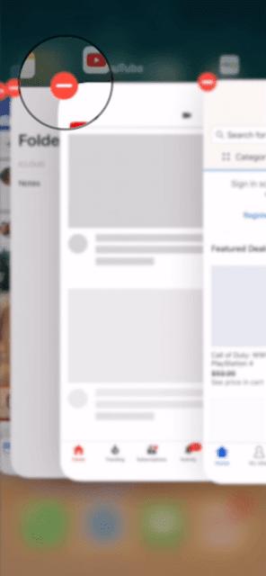 كيفية غلق وقفل التطبيقات في ايفون X بالضغط على ايقونة المسح