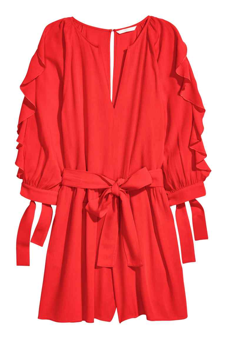H&M czerwony kombinezon z falbankami