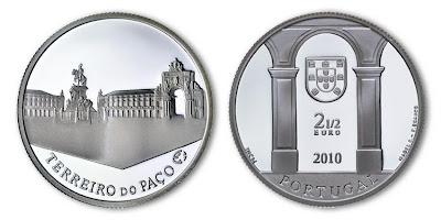 Монета: 2,5 Евро, 2010 г., Площадь Коммерции, Лиссабон. Португалия.  Серия: Архитектурное наследие Европы.