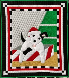 Santa's Helper puppy wall quilt