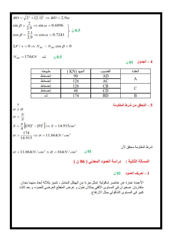 اختبار تقني رياضي هندسة مدنية