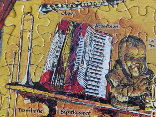 jigsaw puzzle with musical instruments