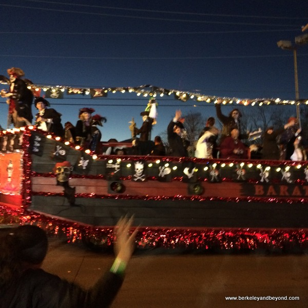 big rig float in Krewe of Krewes' Parade at Mardi Gras in Lake Charles, LA