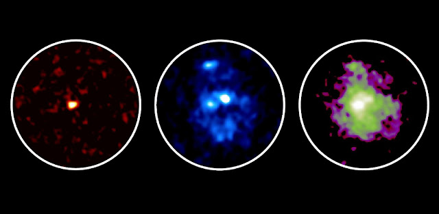 Observation images of a galaxy 11 billion light-years away. Submillimeter waves detected with ALMA are shown in left, indicating the location of dense dust and gas where stars are being formed. Optical and infrared light seen with the Hubble Space Telescope are shown in the middle and right, respectively. A large galactic disk is seen in infrared, while three young star clusters are seen in optical light. Credit: ALMA (ESO/NAOJ/NRAO), NASA/ESA Hubble Space Telescope, Tadaki et al.