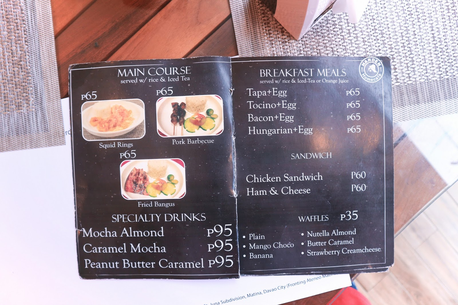Harden Home Cafe Menu