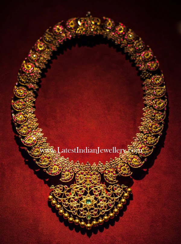 Precious Ruby Mango Design Gold Haram Latest Indian