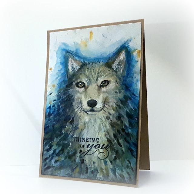 akwarelowa kartka z psem