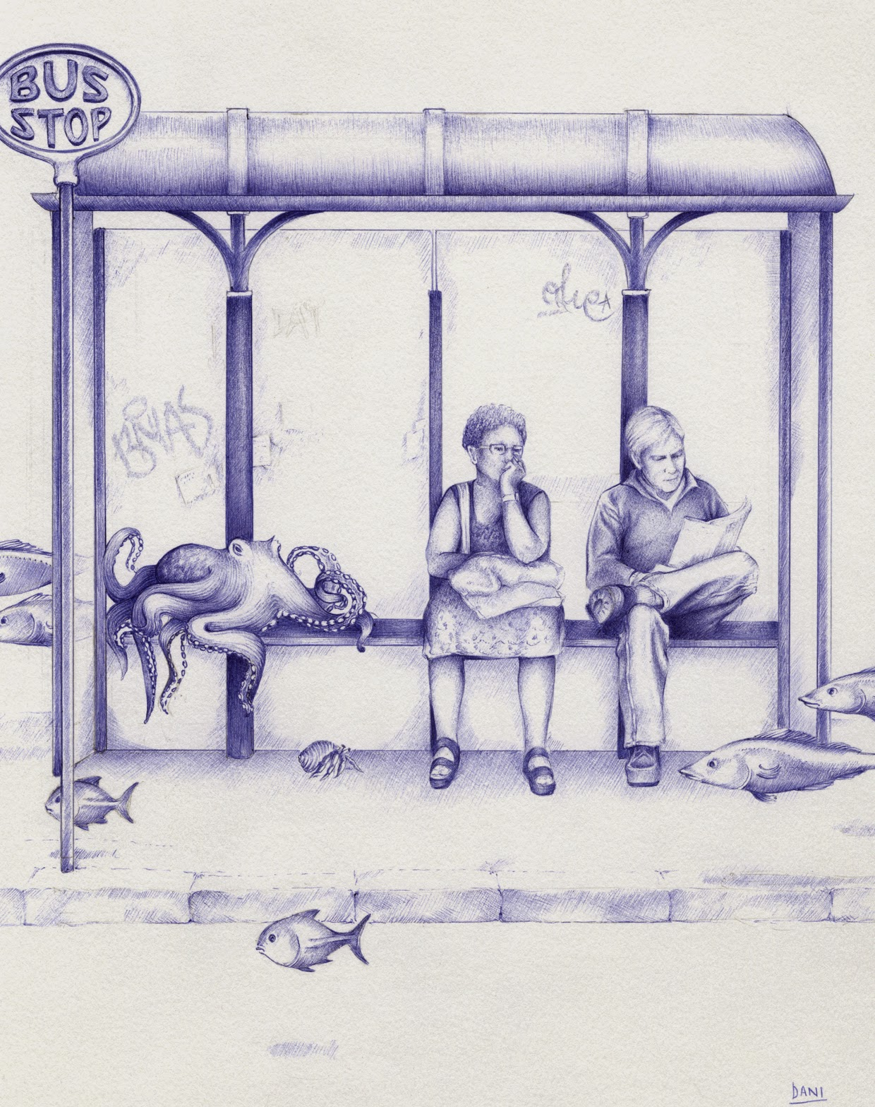 09-Waiting-for-Santa-Maria-Dani-Loureiro-Zero-Gravity-Ballpoint-Pen-Drawings-www-designstack-co