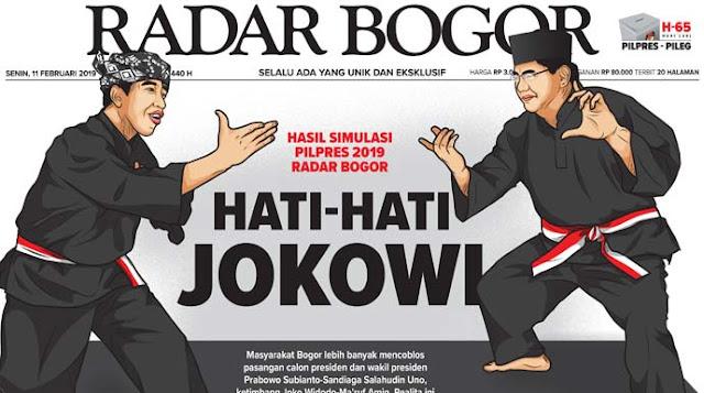Simulasi Pilpres 2019 di 12 Daerah: Jokowi 38,36 Persen, Prabowo 61,64