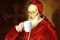 Popiežius Klemensas VIII geria kavą